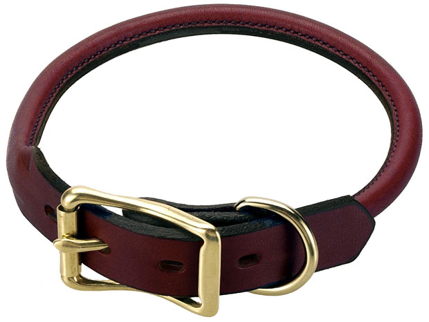 "Mendota Pet Rolled Standard Collar: Chestnut, 3/4"" x 24"""