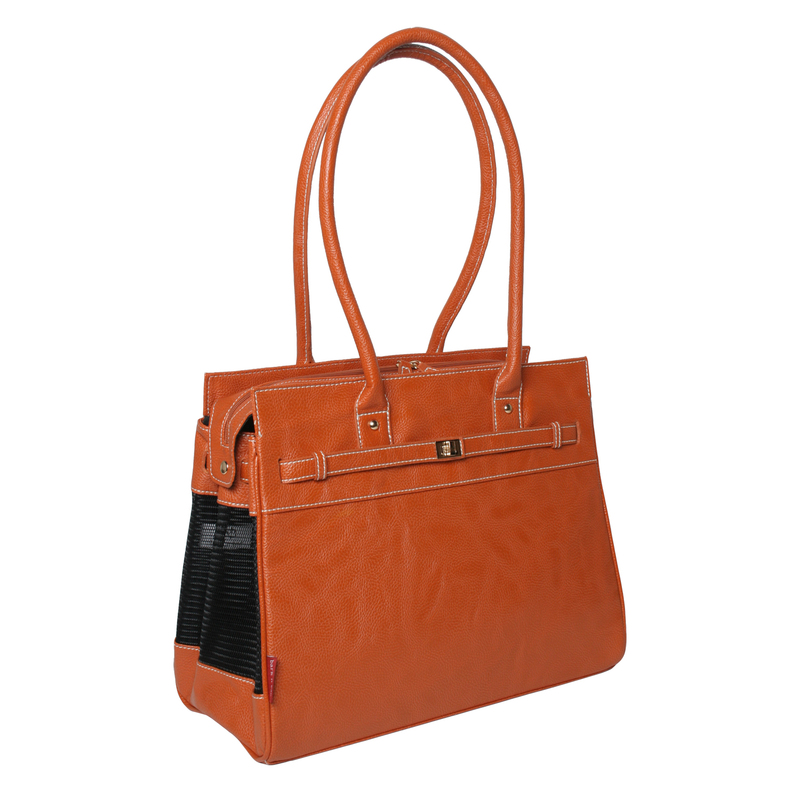 Bark N Bag Pebble Grain Tote: Cognac
