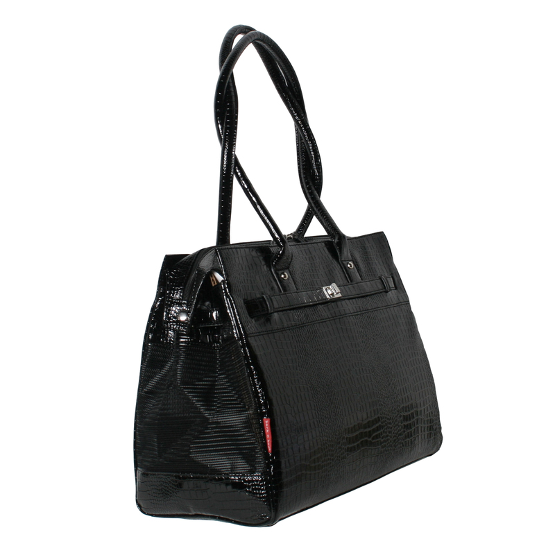 Bark N Bag Exotic Tote: Patent Croco, Black