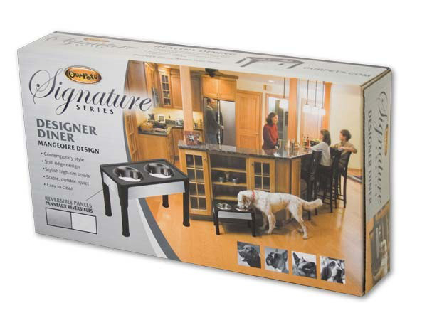 "Our Pets Signature Series Dog Elevated Panel Feeder Black / Gray 14"" x 8"" x 4"""