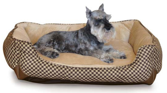 "K&H Pet Products Self Warming Lounge Sleeper Square Pet Bed Medium Brown 24"" x 30"" x 9"""