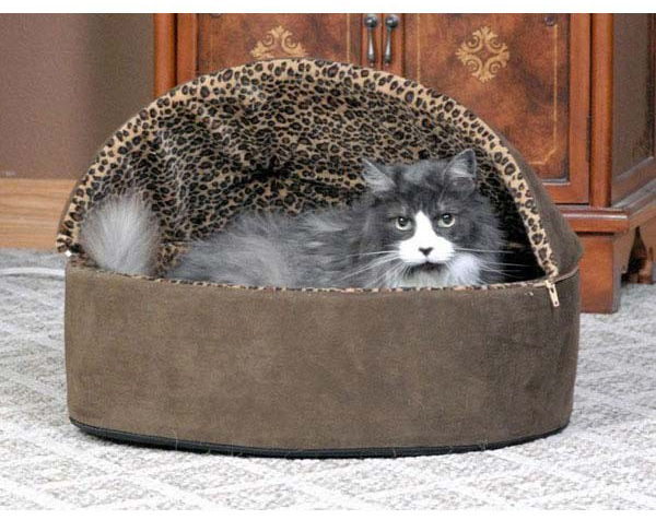 "K&H Pet Products Thermo-Kitty 4 Watts Deluxe Hooded Bed: Leopard, Tan, Large, 20"" x 20"" x 14"""