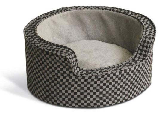 "K&H Pet Products Round Comfy Sleeper Self-Warming Pet Bed Small Gray / Black 18"" x 18"" x 8"""