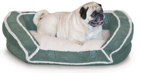 "K&H Pet Products Deluxe Bolster Couch: Small, Green Paw, 21"" x 30"" x 7"""