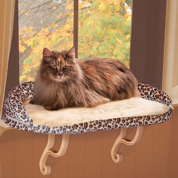 "K&H Pet Products Deluxe Kitty Sill with Bolster: Leopard, 14"" x 24"" x 10"""