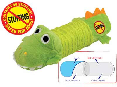 Petstages Stuffing Free Big Squeak Gator Green