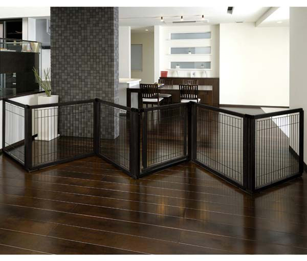 "Richell Convertible Elite Pet Gate: 6 Panel, Black, 197.5"" x 0.8"" x 31.5"""