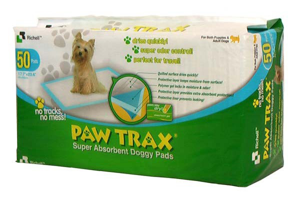 "Richell Paw Trax Pet Training Pads 50 Count White 17.7"" x 23.6"" x 0.2"""