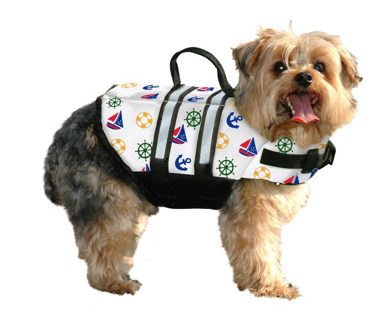 Paws Aboard Dog Life Jacket: Nautical, Medium