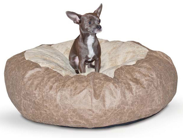 "K&H Pet Products Self Warming Cuddle Ball Medium Green Distress 38"" x 38"" x 12"""
