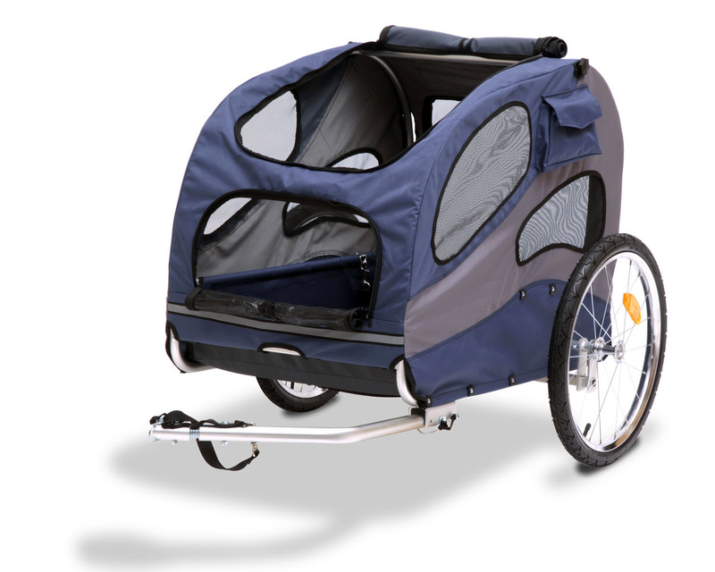 Solvit HoundAbout Classic Pet Bicycle Trailer: Steel, Blue, Large