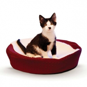 "K&H Pet Products Ultra Memory Round Pet Cuddle Nest Red 19"" x 19"" x 3"""