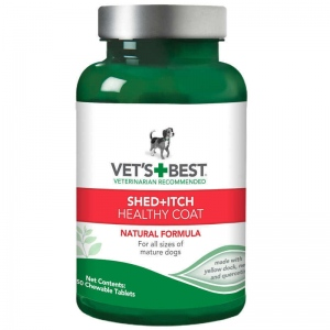 "Vet's Best Dog Healthy Coat Shed and Itch Supplement 50 Tablet Green 2.5"" x 2.5"" x 4.94"""