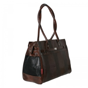 Bark N Bag Exotic Tote: Patent Croco, Brown