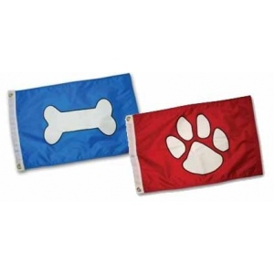 Paws Aboard Paw Print flag: Red