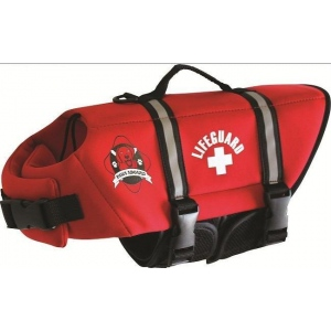 Paws Aboard Dog Life Jacket: Red, Neoprene, Small