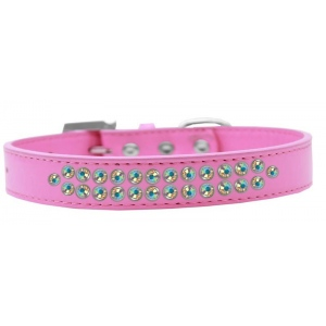Two Row AB Crystal Size 18 Bright Pink Dog Collar