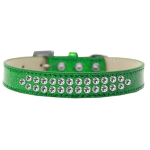 Two Row Clear Crystal Size 12 Emerald Green Ice Cream Dog Collar