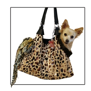 Tan with Animal Foil RunAround Pet Carrier Tote