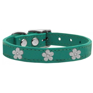 Silver Flower Widget Genuine Leather Dog Collar Jade 22