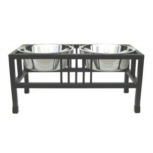 PetsStop Baron Double Raised Dog Bowl - Small/Black
