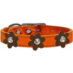 Metallic Flower Leather Collar Metallic Orange With Bronze flowers Size 24