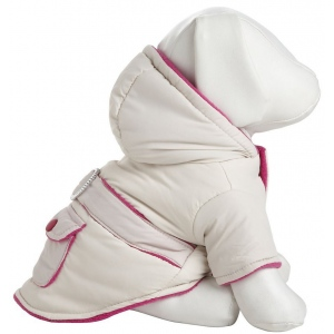 Pet Life Double-Toned Jewel Pet Jacket: Small, Beige And Pink