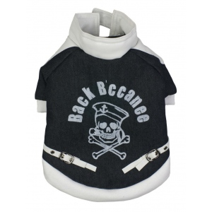 Pet Life Varsity-Buckled Collared Pet Coat: Small, Black/White