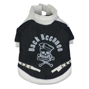Pet Life Varsity-Buckled Collared Pet Coat: Medium, Black/White
