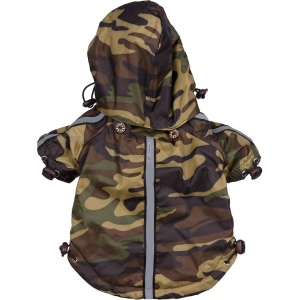 Pet Life Reflecta-Sport Adjustable Reflective Weather-Proof Pet Rainbreaker Jacket: X-Small, Camouflage
