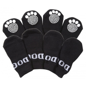 Pet Life Pet Socks W/ Rubberized Soles: Small, Black