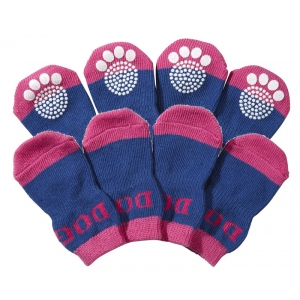 Pet Life Pet Socks W/ Rubberized Soles: Large, Purple & Blue