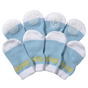 Pet Life Pet Socks W/ Rubberized Soles: Large, Blue & White