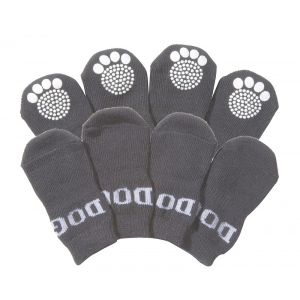 Pet Life Pet Socks W/ Rubberized Soles: Large, Grey