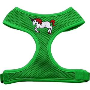 Unicorn Embroidered Soft Mesh Harness Emerald Green Large