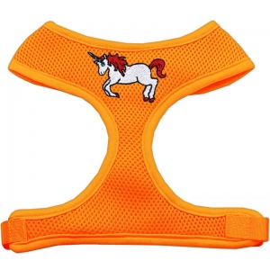 Unicorn Embroidered Soft Mesh Harness Orange Medium