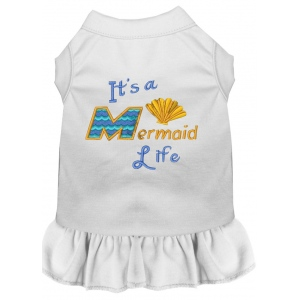 Mermaid Life Embroidered Dog Dress White Med (12)