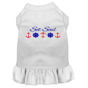 Set Sail Embroidered Dog Dress White Med (12)