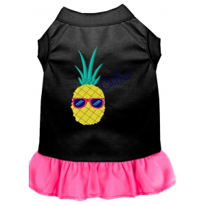 Pineapple Chillin Embroidered Dog Dress Black with Bright Pink XXXL (20)