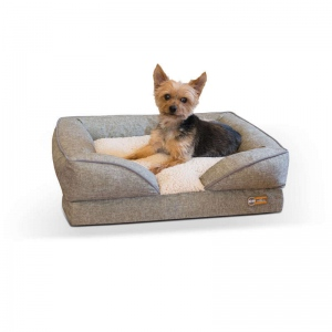 "K&H Pet Products Pillow-Top Orthopedic Pet Lounger Small Tan 18"" x 24"" x 8"""