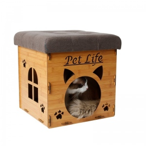Pet Life Foldaway Collapsible Designer Cat House Furniture Bench: One Size, Light Wood