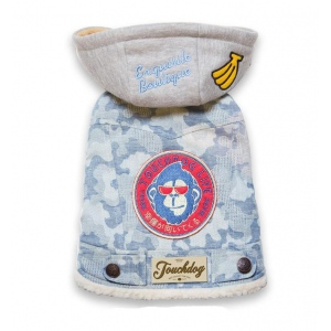 TouchdogOutlaw Designer Embellished Retro-Denim Pet Dog Hooded Jacket Coat: Large, Blue