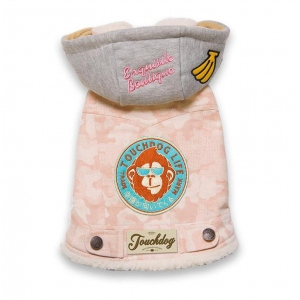 TouchdogOutlaw Designer Embellished Retro-Denim Pet Dog Hooded Jacket Coat: Medium, Pink