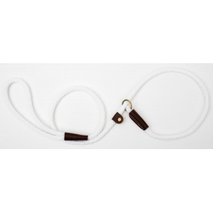 "Mendota British Style Small Slip Lead Rope: Leash and Collar in One, White, 3/8"" x 4'"