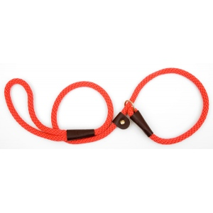 "Mendota British Style Slip Lead Rope: Leash and Collar in One, Red, 1/2"" X 4'"