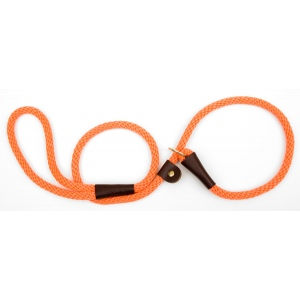 "Mendota British Style Slip Lead Rope: Leash and Collar in One, Orange, 1/2"" X 4'"