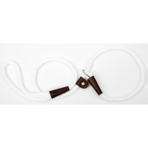 "Mendota Pet British Style Slip Lead Rope: Leash and Collar in One, White, 1/2"" X 4'"