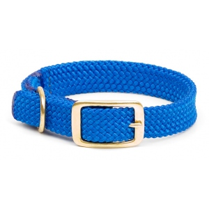 "Mendota Double Braid Collar: Blue, 1""W Up to 18"""