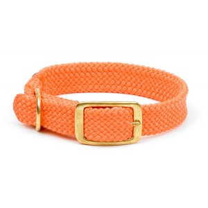 "Mendota Double Braid Collar: Orange, 1""W Up to 18"""
