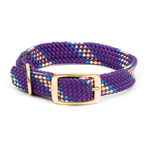 "Mendota Double Braid Collar: Purple Conf, 1""W Up to 18"""